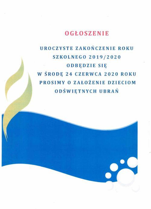 Uroczystości związane z zakończeniem Roku Szkolnego 2019/2020